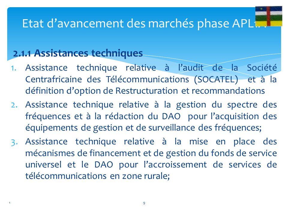 2.1.1 Assistances techniques 1.Assistance technique relative à laudit de la Société Centrafricaine des Télécommunications (SOCATEL) et à la définition