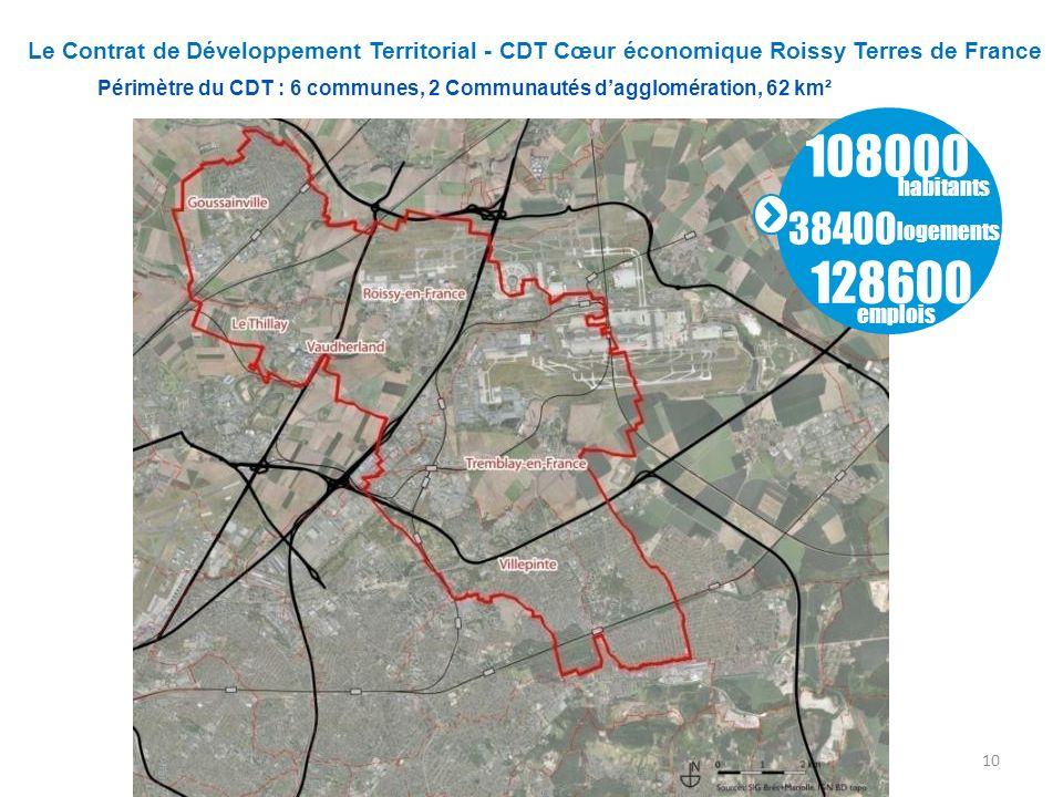 Le Contrat de Développement Territorial - CDT Cœur économique Roissy Terres de France Périmètre du CDT : 6 communes, 2 Communautés dagglomération, 62