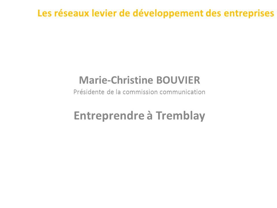 Les réseaux levier de développement des entreprises Marie-Christine BOUVIER Présidente de la commission communication Entreprendre à Tremblay
