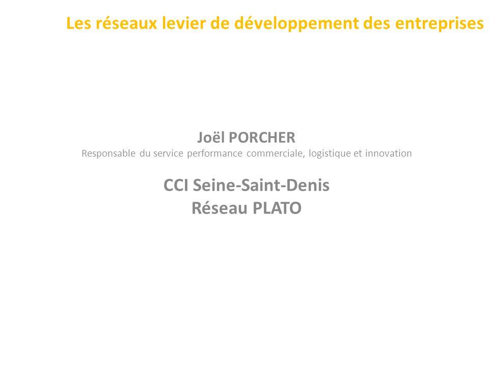 Les réseaux levier de développement des entreprises Joël PORCHER Responsable du service performance commerciale, logistique et innovation CCI Seine-Sa
