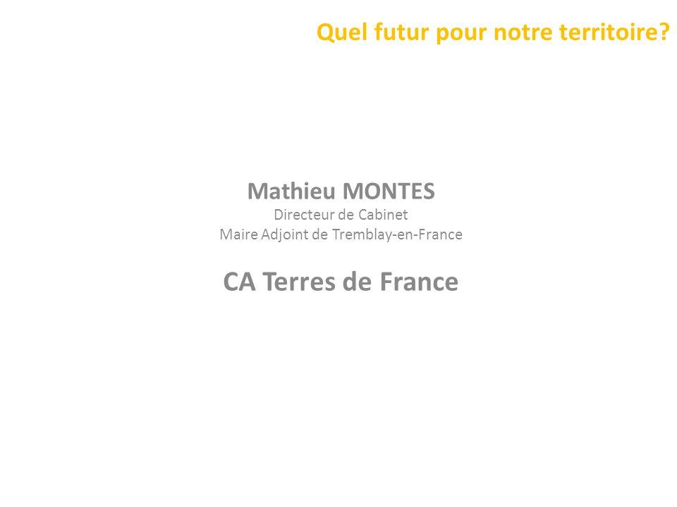 Quel futur pour notre territoire? Mathieu MONTES Directeur de Cabinet Maire Adjoint de Tremblay-en-France CA Terres de France