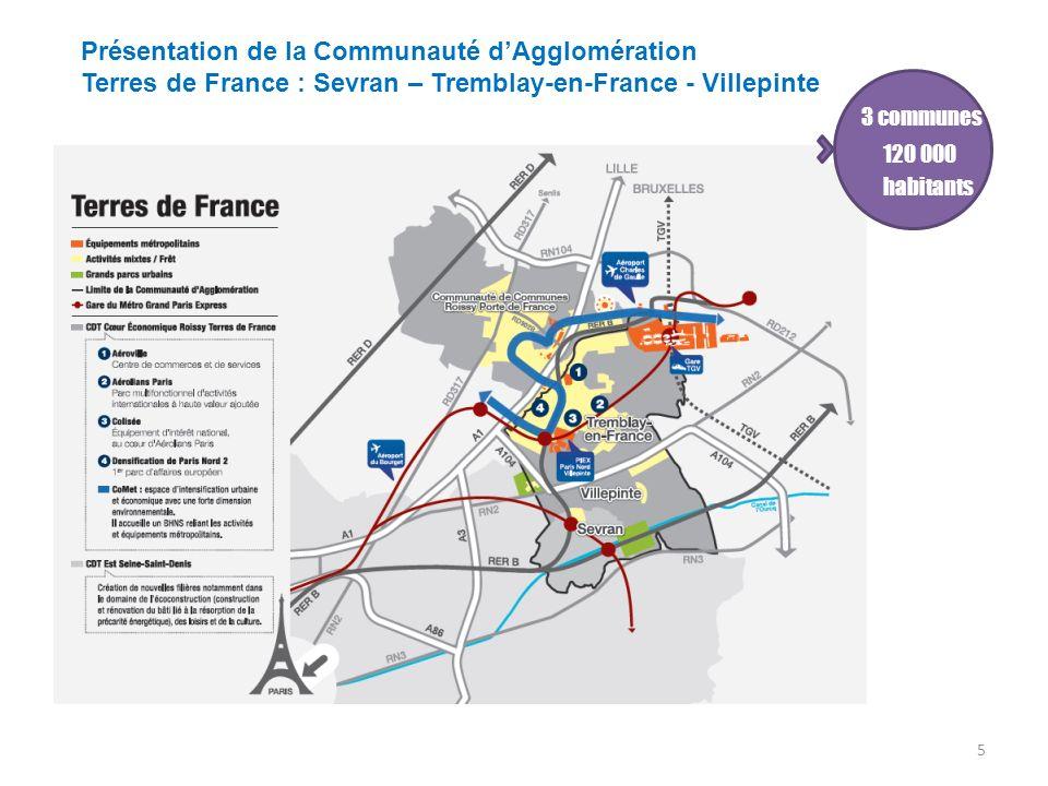 Présentation de la Communauté dAgglomération Terres de France : Sevran – Tremblay-en-France - Villepinte 5 … habitants 3 communes 120 000 habitants