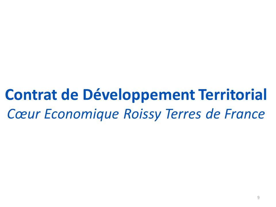 Le Contrat de Développement Territorial - CDT Cœur économique Roissy Terres de France Périmètre du CDT : 6 communes, 2 Communautés dagglomération, 62 km² 10 108000 emplois 128600 habitants logements 38400