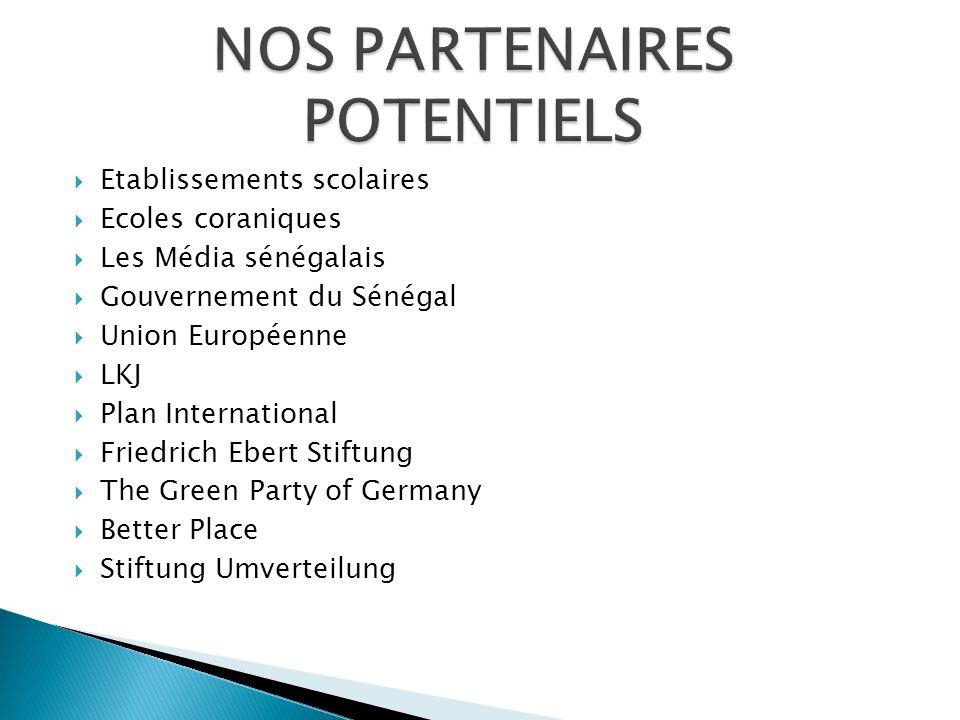 Etablissements scolaires Ecoles coraniques Les Média sénégalais Gouvernement du Sénégal Union Européenne LKJ Plan International Friedrich Ebert Stiftu