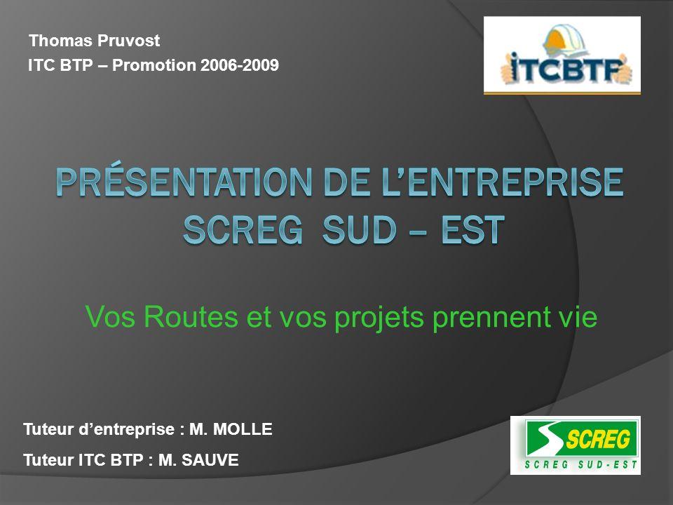 Thomas Pruvost ITC BTP – Promotion 2006-2009 Tuteur dentreprise : M. MOLLE Tuteur ITC BTP : M. SAUVE Vos Routes et vos projets prennent vie