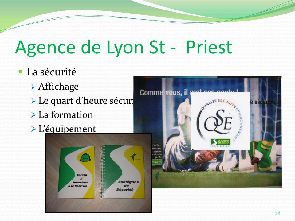 Agence de Lyon St - Priest La sécurité Affichage Le quart dheure sécurité La formation Léquipement 13