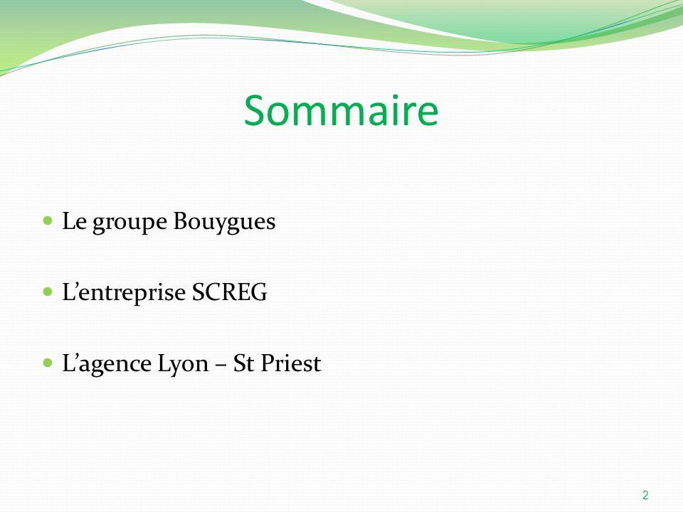 Sommaire Le groupe Bouygues Lentreprise SCREG Lagence Lyon – St Priest 2