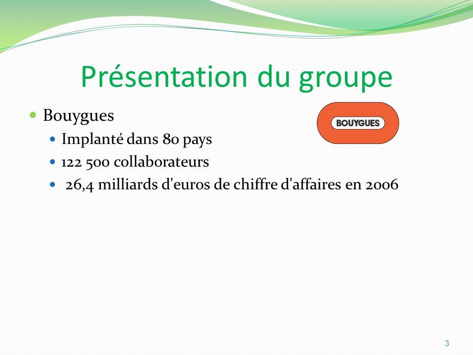 Présentation du groupe Bouygues Implanté dans 80 pays 122 500 collaborateurs 26,4 milliards d'euros de chiffre d'affaires en 2006 3