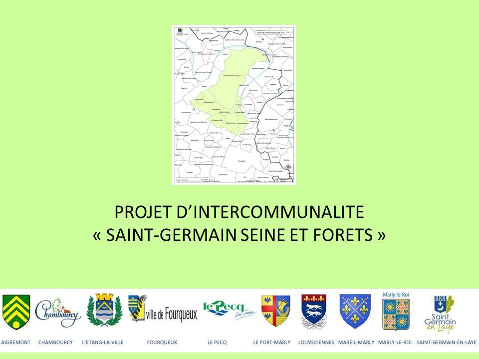 Le périmètre 10 communes : 104 981 habitants (population municipale) Aigremont Chambourcy LEtang-la-Ville Fourqueux Le Pecq Le Port-Marly Louveciennes Mareil-Marly Marly-le-Roi Saint-Germain-en-Laye Une diversité de profils ; la plus petite commune représente 1 099 habitants et la plus importante 40 481 habitants
