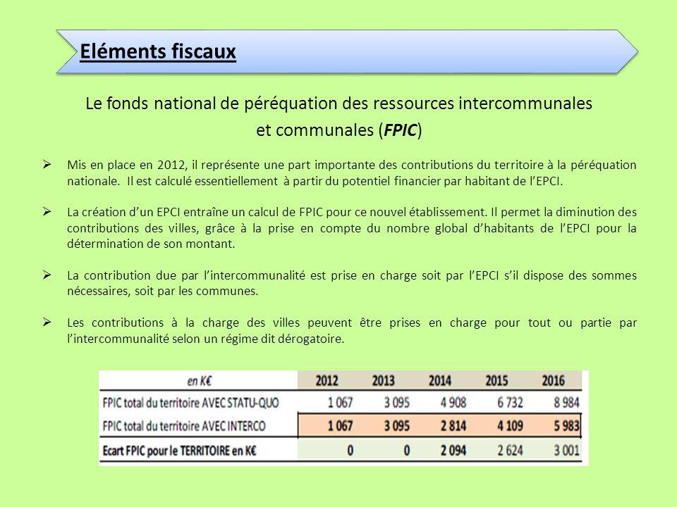 Le fonds national de péréquation des ressources intercommunales et communales (FPIC) Mis en place en 2012, il représente une part importante des contr
