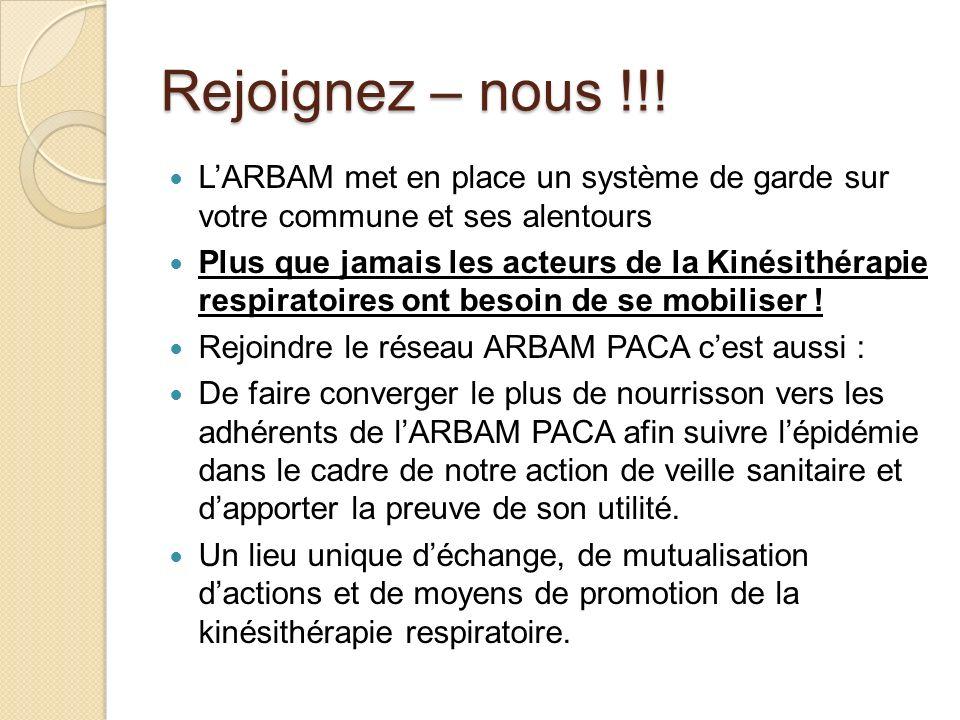 Rejoignez – nous !!! LARBAM met en place un système de garde sur votre commune et ses alentours Plus que jamais les acteurs de la Kinésithérapie respi