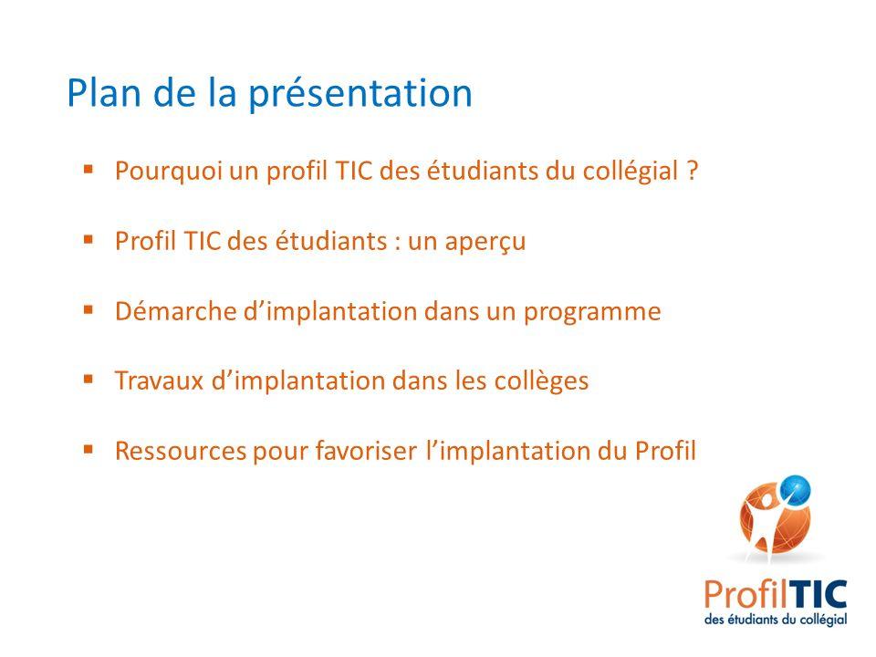 Plan de la présentation Pourquoi un profil TIC des étudiants du collégial ? Profil TIC des étudiants : un aperçu Démarche dimplantation dans un progra