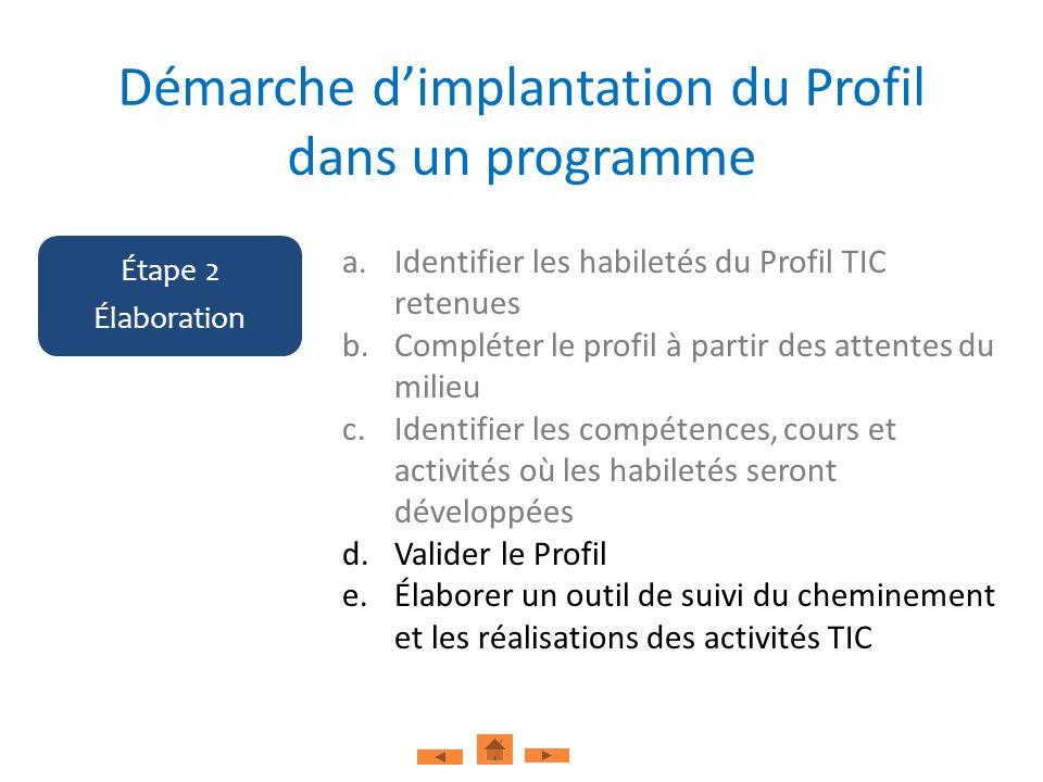 a.Identifier les habiletés du Profil TIC retenues b.Compléter le profil à partir des attentes du milieu c.Identifier les compétences, cours et activit