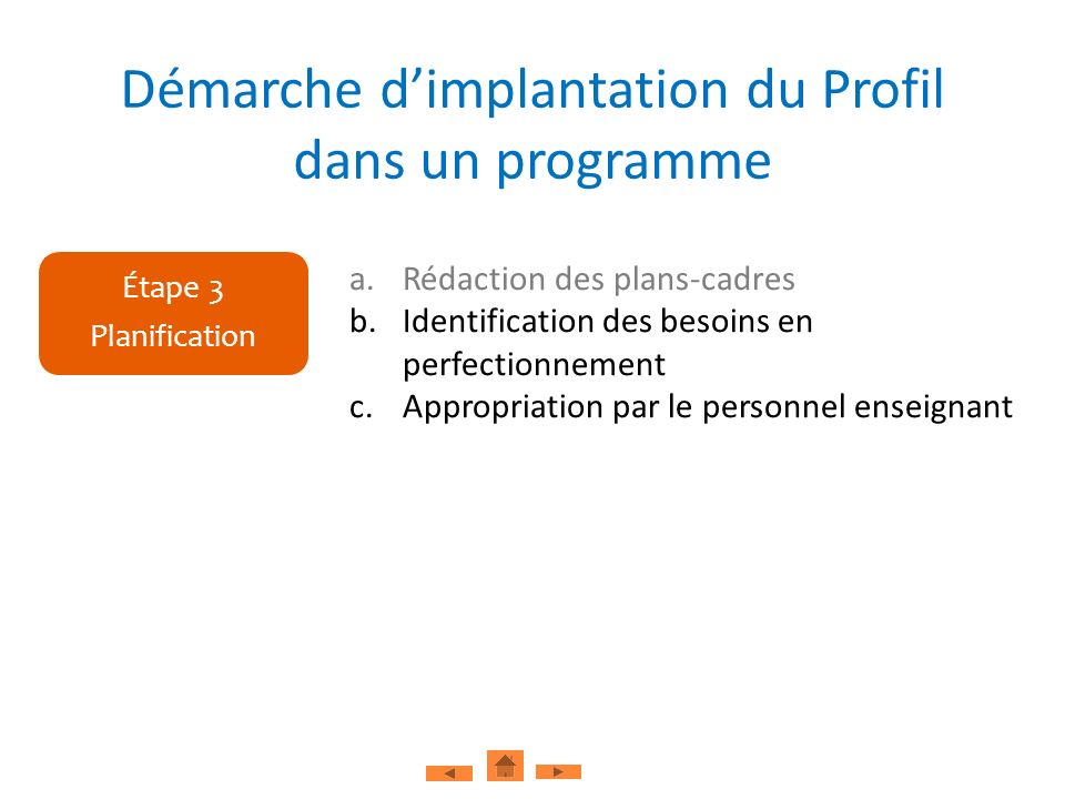 a.Rédaction des plans-cadres b.Identification des besoins en perfectionnement c.Appropriation par le personnel enseignant Étape 3 Planification Démarc