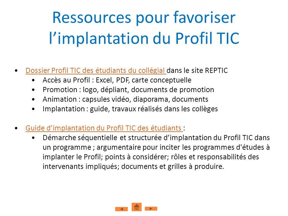 Ressources pour favoriser limplantation du Profil TIC Dossier Profil TIC des étudiants du collégial dans le site REPTICDossier Profil TIC des étudiant