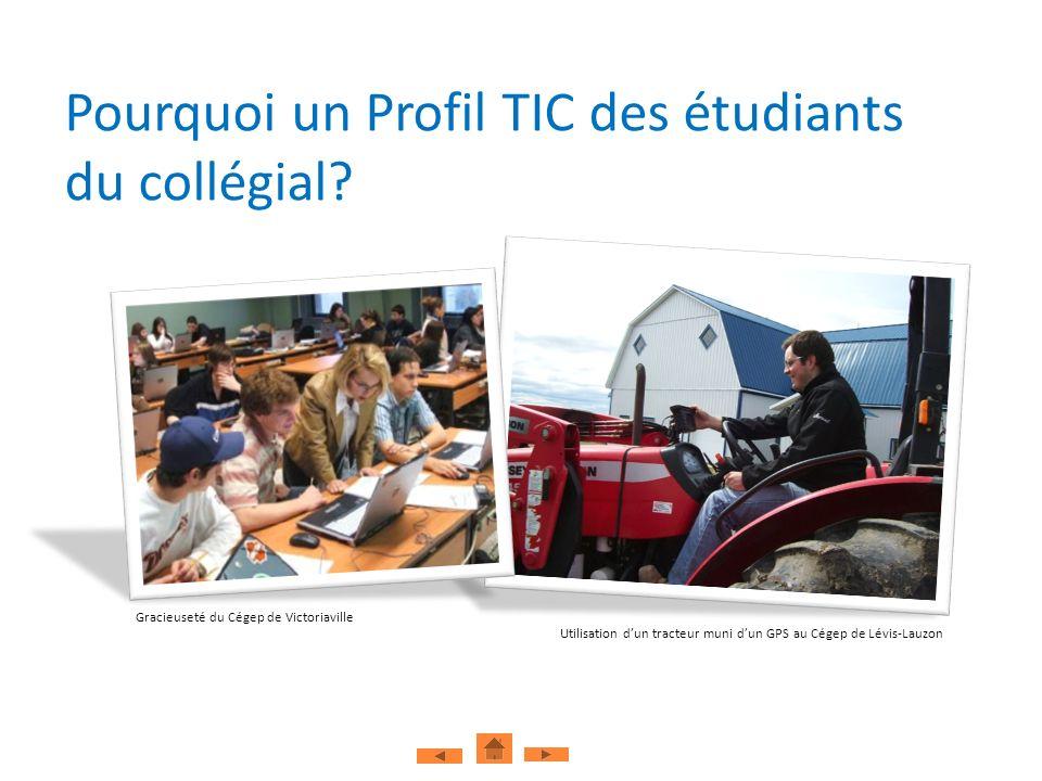 Pourquoi un Profil TIC des étudiants du collégial? Gracieuseté du Cégep de Victoriaville Utilisation dun tracteur muni dun GPS au Cégep de Lévis-Lauzo