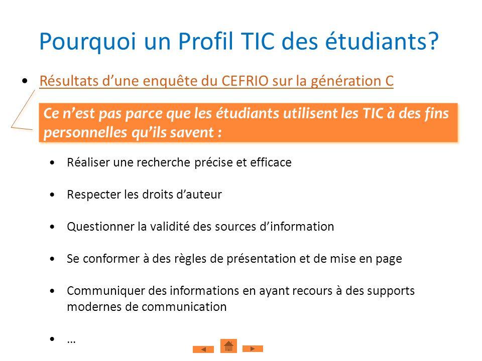 Pourquoi un Profil TIC des étudiants? Résultats dune enquête du CEFRIO sur la génération C Réaliser une recherche précise et efficace Respecter les dr