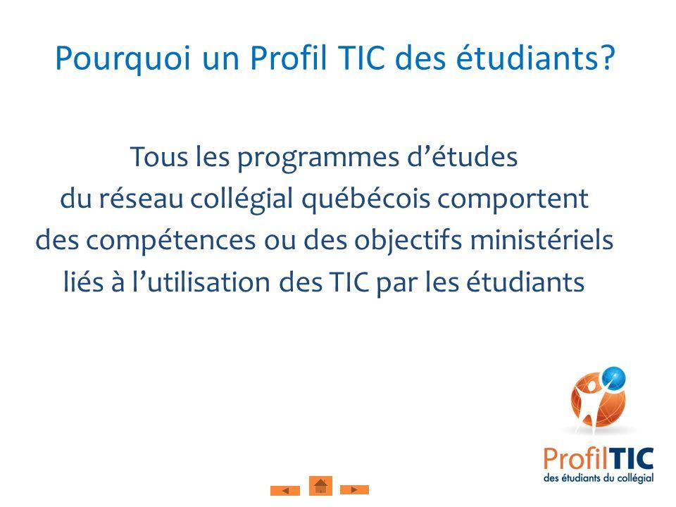 Tous les programmes détudes du réseau collégial québécois comportent des compétences ou des objectifs ministériels liés à lutilisation des TIC par les