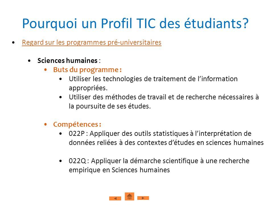 Regard sur les programmes pré-universitaires Sciences humaines : Buts du programme : Utiliser les technologies de traitement de linformation approprié