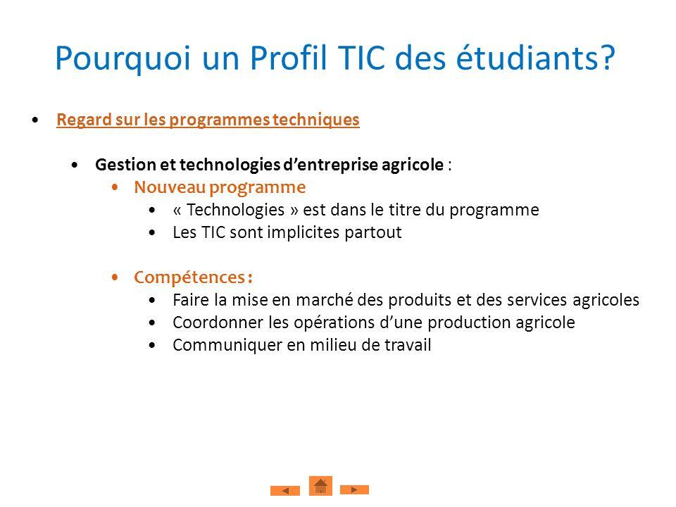 Exemple de la présence implicite des TIC à travers les compétences Pourquoi un Profil TIC des étudiants.