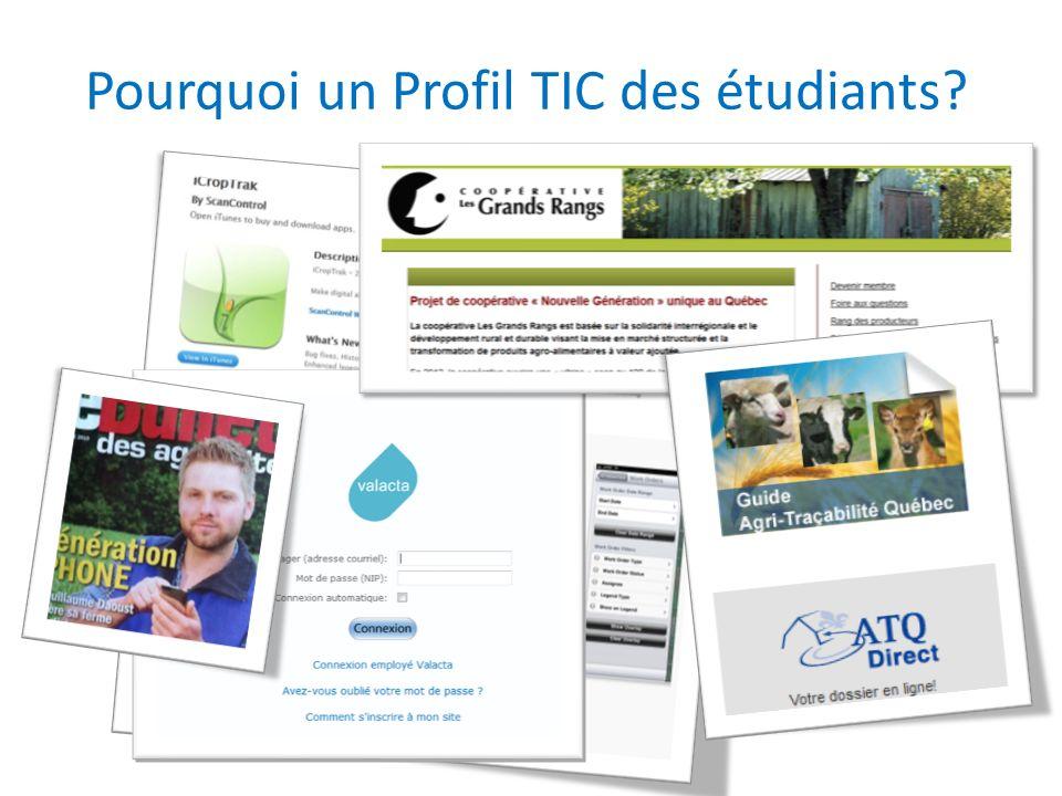 Exemples de correspondances compétences-Profil TIC Compétence Habileté, objectif ou tâche associés Analyser lorganisation et le fonctionnement dune entreprise agricole.