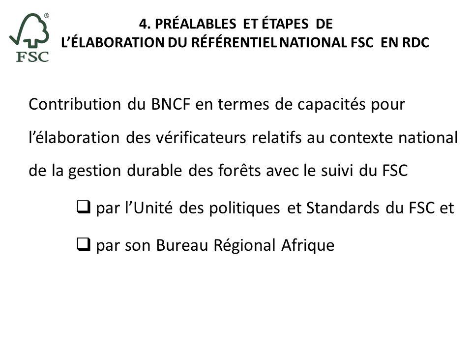 4. PRÉALABLES ET ÉTAPES DE LÉLABORATION DU RÉFÉRENTIEL NATIONAL FSC EN RDC Contribution du BNCF en termes de capacités pour lélaboration des vérificat