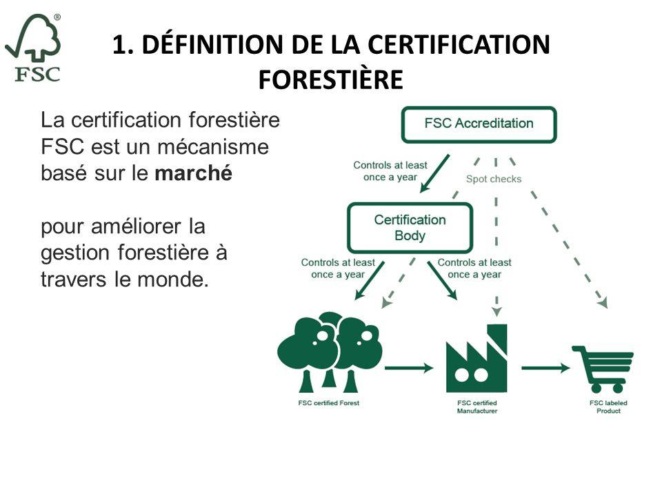 1. DÉFINITION DE LA CERTIFICATION FORESTIÈRE La certification forestière FSC est un mécanisme basé sur le marché pour améliorer la gestion forestière