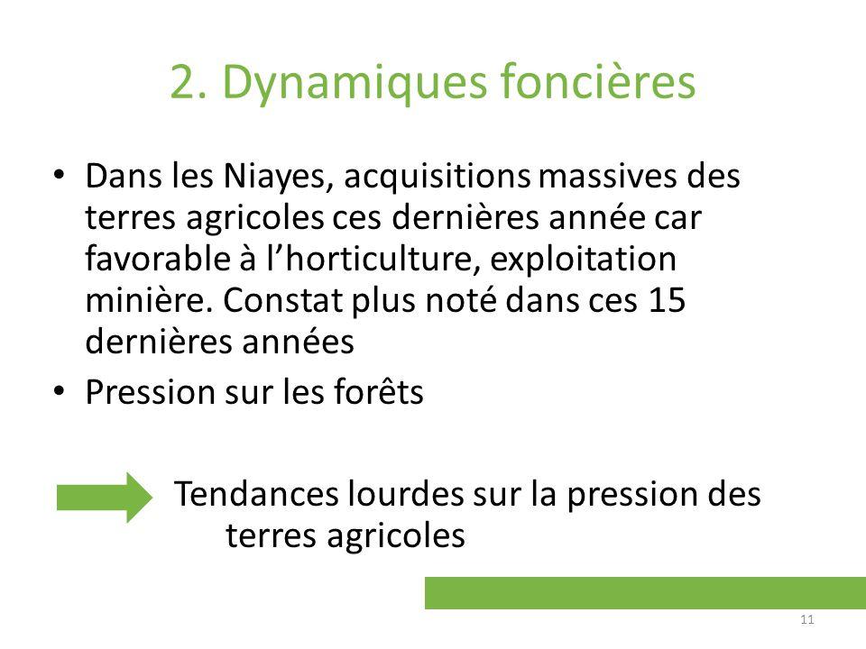 2. Dynamiques foncières Dans les Niayes, acquisitions massives des terres agricoles ces dernières année car favorable à lhorticulture, exploitation mi