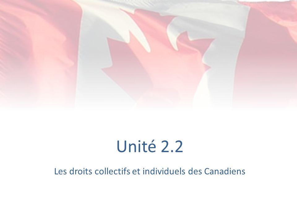 Unité 2.2 Les droits collectifs et individuels des Canadiens