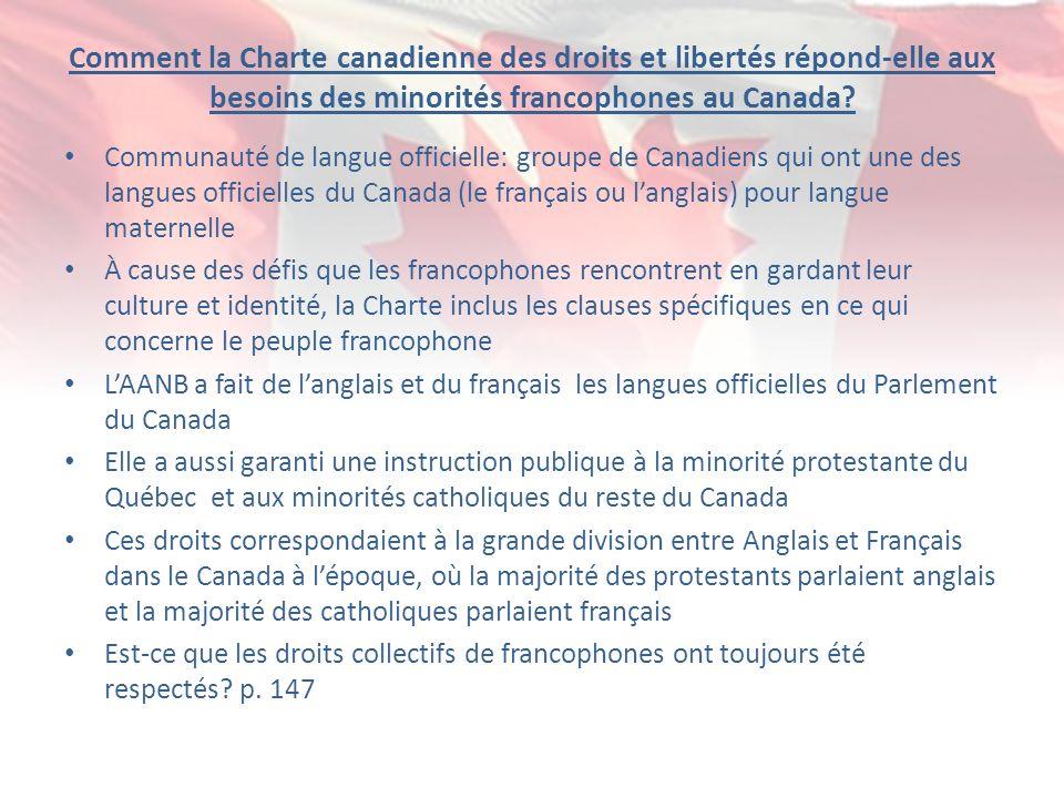 Comment la Charte canadienne des droits et libertés répond-elle aux besoins des minorités francophones au Canada? Communauté de langue officielle: gro