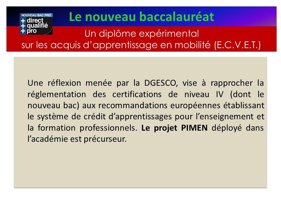 Une réflexion menée par la DGESCO, vise à rapprocher la réglementation des certifications de niveau IV (dont le nouveau bac) aux recommandations europ