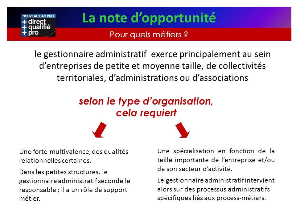 le gestionnaire administratif exerce principalement au sein dentreprises de petite et moyenne taille, de collectivités territoriales, dadministrations