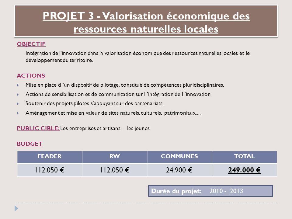 OBJECTIF Intégration de linnovation dans la valorisation économique des ressources naturelles locales et le développement du territoire.