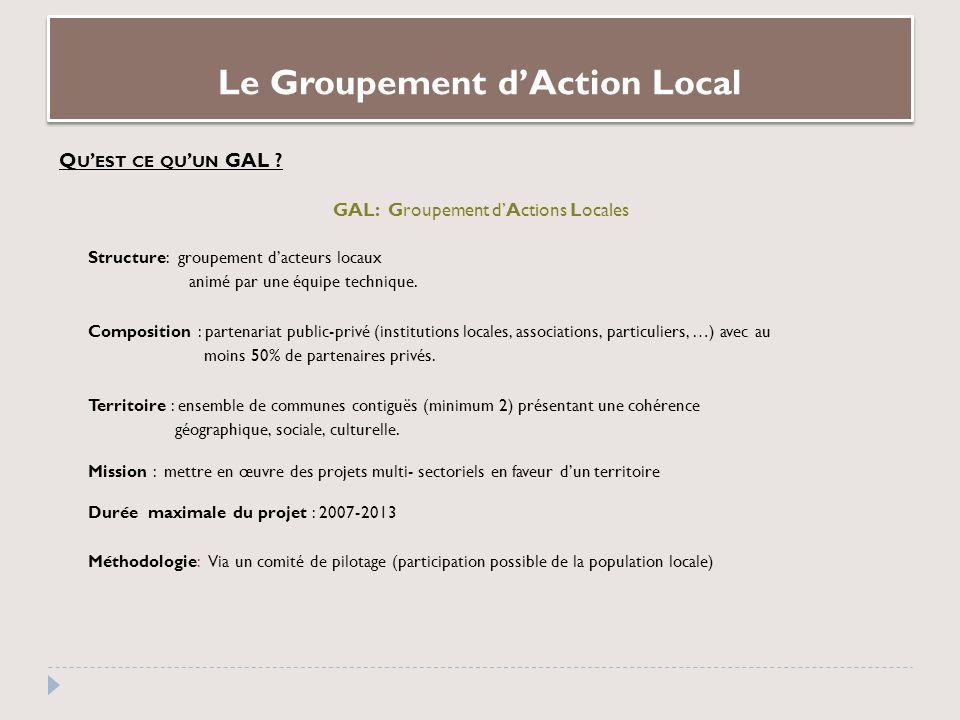 Le Groupement dAction Local Q U EST CE QU UN GAL .