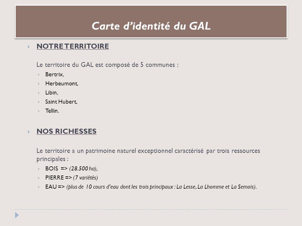 Carte didentité du GAL NOTRE TERRITOIRE Le territoire du GAL est composé de 5 communes : Bertrix, Herbeumont, Libin, Saint Hubert, Tellin.