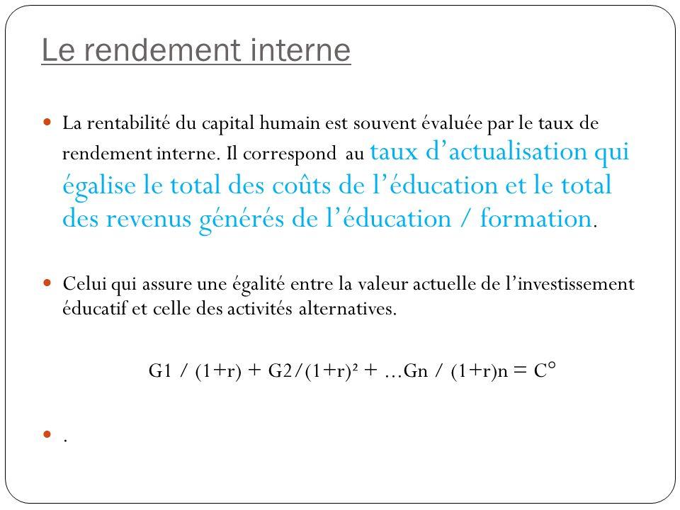 Le rendement interne La rentabilité du capital humain est souvent évaluée par le taux de rendement interne.