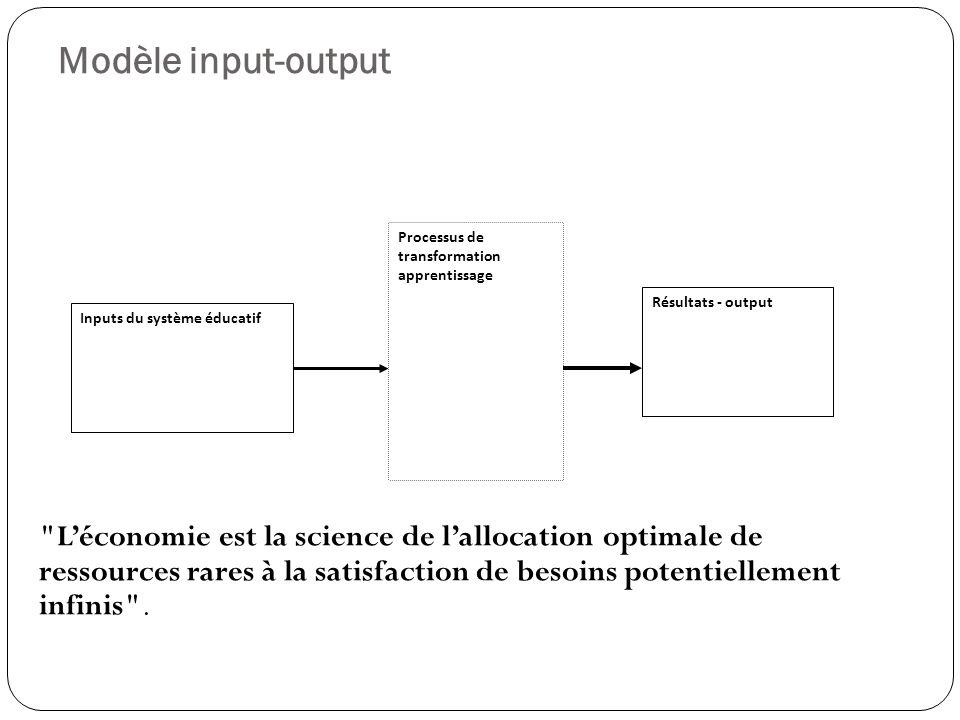 Modèle input-output Léconomie est la science de lallocation optimale de ressources rares à la satisfaction de besoins potentiellement infinis .