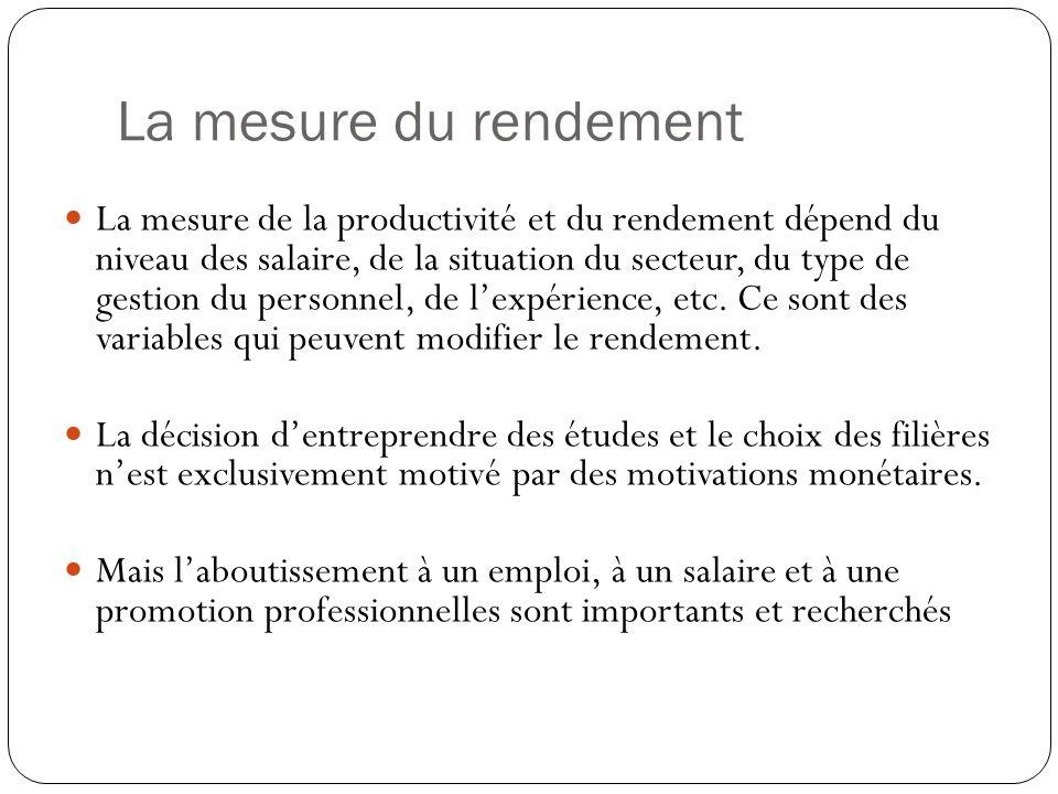La mesure du rendement La mesure de la productivité et du rendement dépend du niveau des salaire, de la situation du secteur, du type de gestion du personnel, de lexpérience, etc.