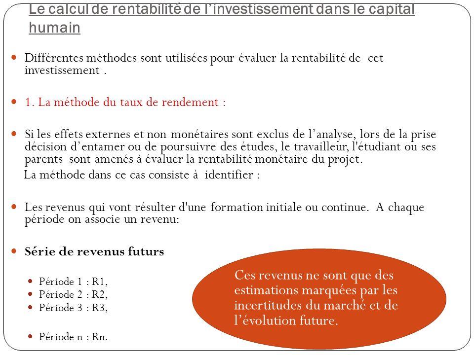 Le calcul de rentabilité de linvestissement dans le capital humain Différentes méthodes sont utilisées pour évaluer la rentabilité de cet investissement.