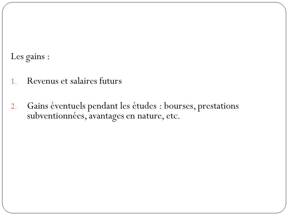 Les gains : 1.Revenus et salaires futurs 2.