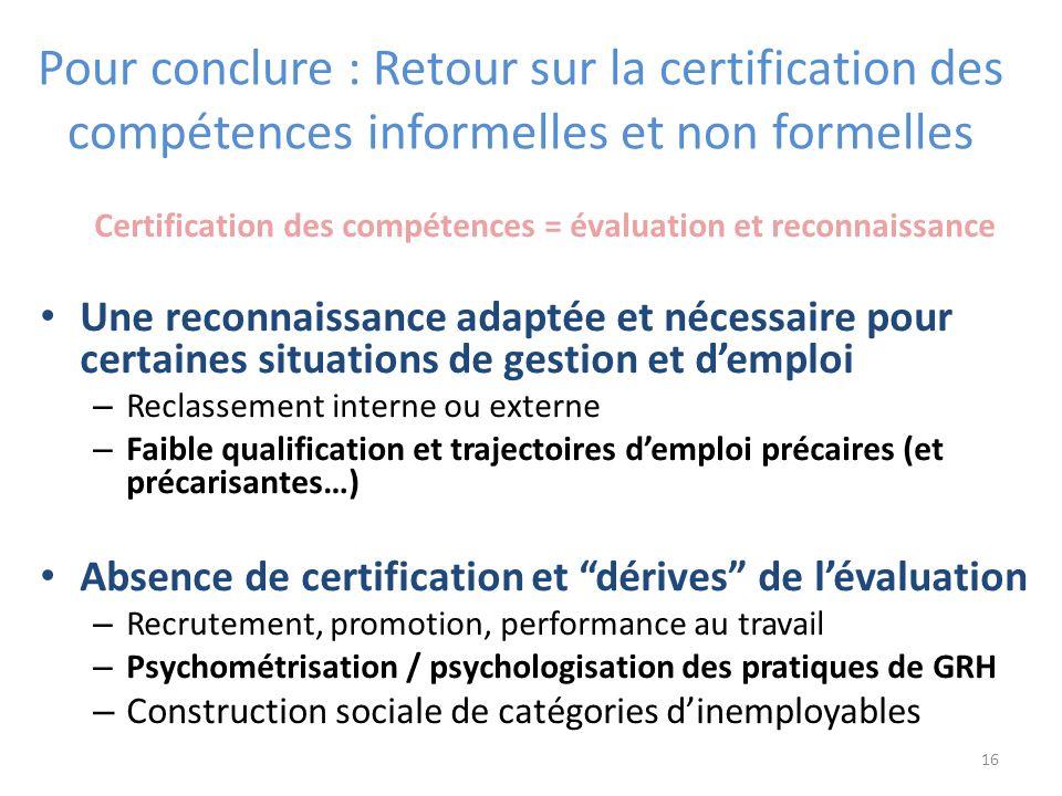 Pour conclure : Retour sur la certification des compétences informelles et non formelles Certification des compétences = évaluation et reconnaissance