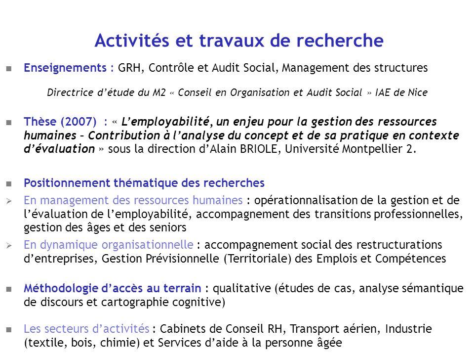 Activités et travaux de recherche Enseignements : GRH, Contrôle et Audit Social, Management des structures Directrice détude du M2 « Conseil en Organi