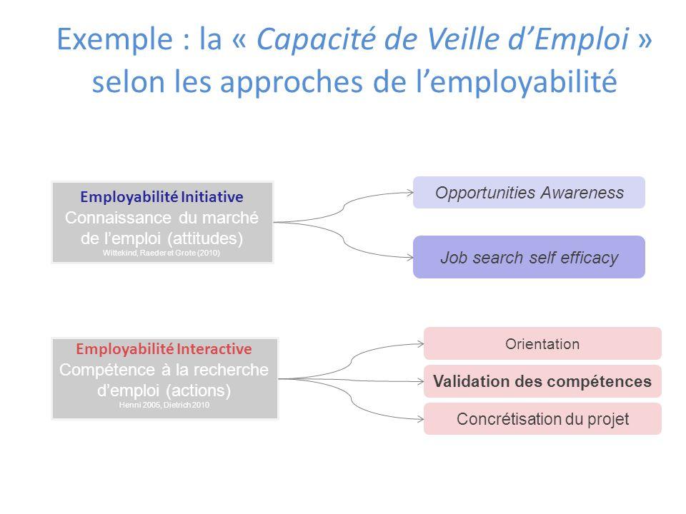 Exemple : la « Capacité de Veille dEmploi » selon les approches de lemployabilité Employabilité Interactive Compétence à la recherche demploi (actions