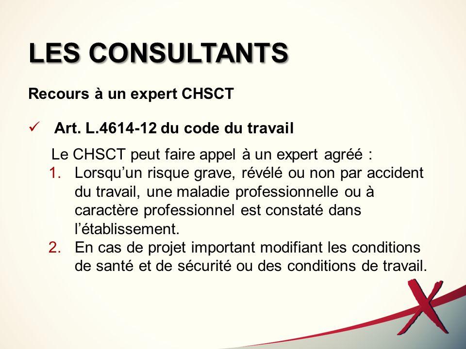 LES CONSULTANTS Recours à un expert CHSCT Art. L.4614-12 du code du travail Le CHSCT peut faire appel à un expert agréé : 1.Lorsquun risque grave, rév