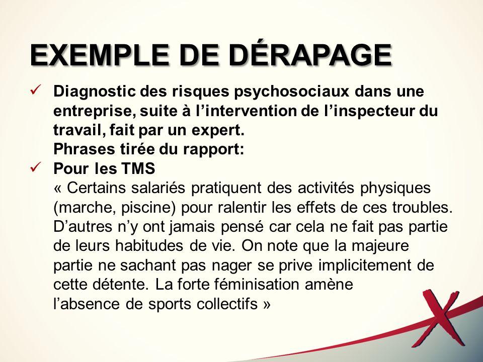 EXEMPLE DE DÉRAPAGE Diagnostic des risques psychosociaux dans une entreprise, suite à lintervention de linspecteur du travail, fait par un expert. Phr