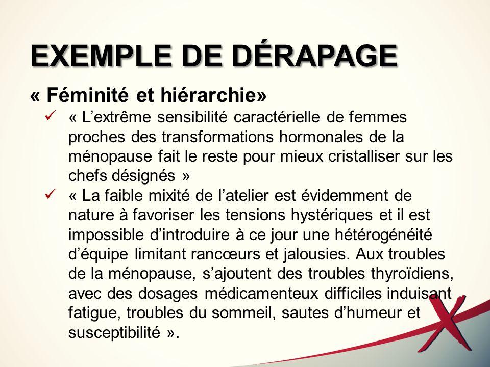 EXEMPLE DE DÉRAPAGE « Féminité et hiérarchie» « Lextrême sensibilité caractérielle de femmes proches des transformations hormonales de la ménopause fa