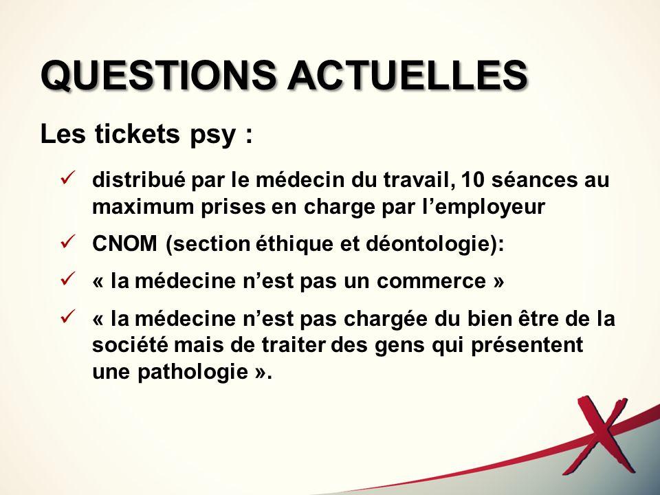 QUESTIONS ACTUELLES Les tickets psy : distribué par le médecin du travail, 10 séances au maximum prises en charge par lemployeur CNOM (section éthique