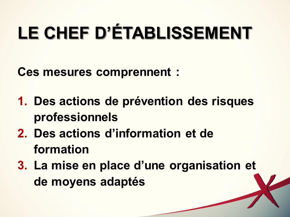 LE CHEF DÉTABLISSEMENT Ces mesures comprennent : 1.Des actions de prévention des risques professionnels 2.Des actions dinformation et de formation 3.L