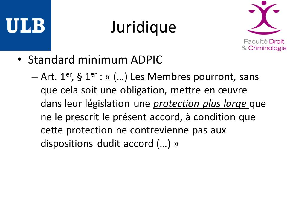 Juridique Standard minimum ADPIC – Art.