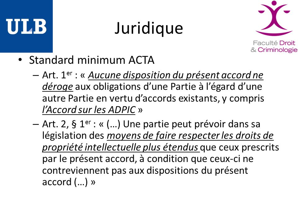 Juridique Standard minimum ACTA – Art.